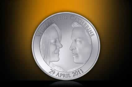 Artists impression of the Platinum Commemorative £5 coin