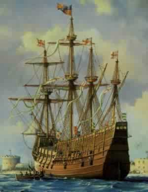 The Mary Rose, a detail from a painting by William Bishop